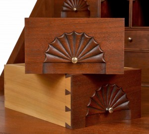 Beautiful Drawers with Fan Carving