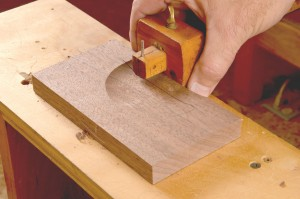 mark the line at the base of the fan with a marking gauge