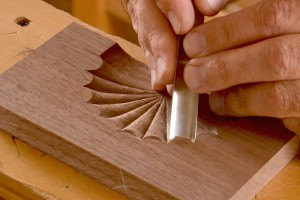 make the first cut while holding the chisel at about a forty-five degree angle