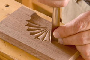 the chisel is held vertically for this part of the carving