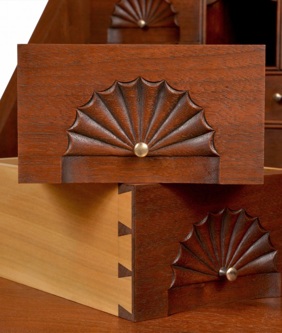 Carved Fans on Small Drawers